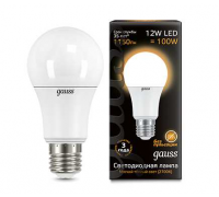 Лампа GAUSS LED A60 E27 12W 3000K 102502112