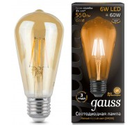 Лампа GAUSS LED FILAMENT ST64 E27 6W 2400K 102802006
