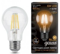 Лампа GAUSS LED FILAMENT A60 E27 6W 2700К 102802106