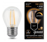 Диммируемая лампа GAUSS LED FILAMENT GLOBE DIMMABLE E27 5W 2700K 105802105-D